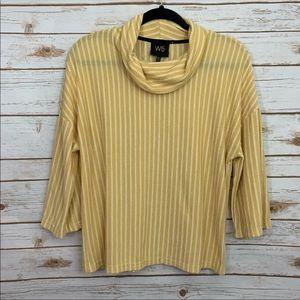 Anthropologie W5 Yellow Striped Cowlneck Blouse